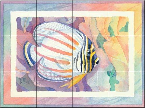 Ceramic Tile Mural - Ornate Butterfly Fish - by Paul Brent - Kitchen backsplash/Bathroom - Fish Butterfly Ornate
