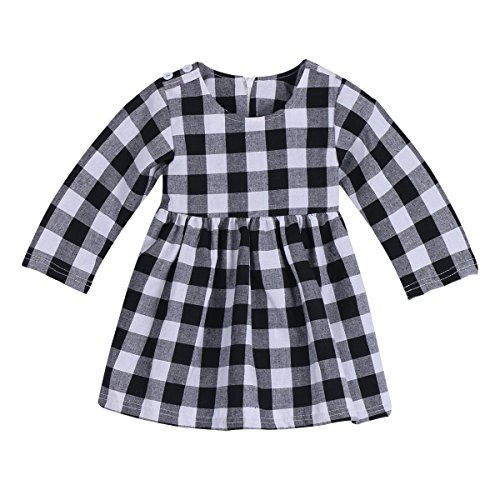 Little Kids Baby Girl Dress White and Black Plaid Tutu Skirt Party Princess Formal Outfit For Chirsmas (tag: 90/12-18 Months, White) -