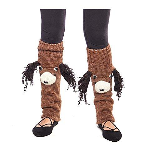 Fun Handknit Wool Winter Animal Face Leg Warmers, Puppy Dog