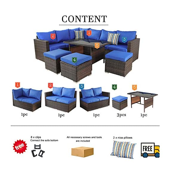 Patio Furniture Garden 7 PCS Sectional Sofa Brown Wicker Conversation Set Outdoor Indoor Use Couch Set Royal Blue Cushion - Comfortable Sectional sofa ➢ This mdern comfortable sofa set come with enough room to greet your family party,Sofa have Royal Blue cushions allow for further comfortable and better support while you sit than a traditional cushions and Sofa's table have tempered glass top to Stable hold food and drinks. Brown PE Rattan Sofa Set ➢Mimic the natural wicker material more better than natural rattan,and PE rattan easy to clean and Hand-treated rattan more antioxidant,Outdoor Indoor Use,such as Backyard Porch,Deck ,Garden Poolside,Balcony patio or Even pool Royal Blue Cushioned Sofa ➢Cushion foam is packed in vacuum.it is high elasticity,please put the foam into the Royal Blue cushion cover,then pat it,later the cushion will become plump. - patio-furniture, patio, conversation-sets - 51FfEGeXISL. SS570  -