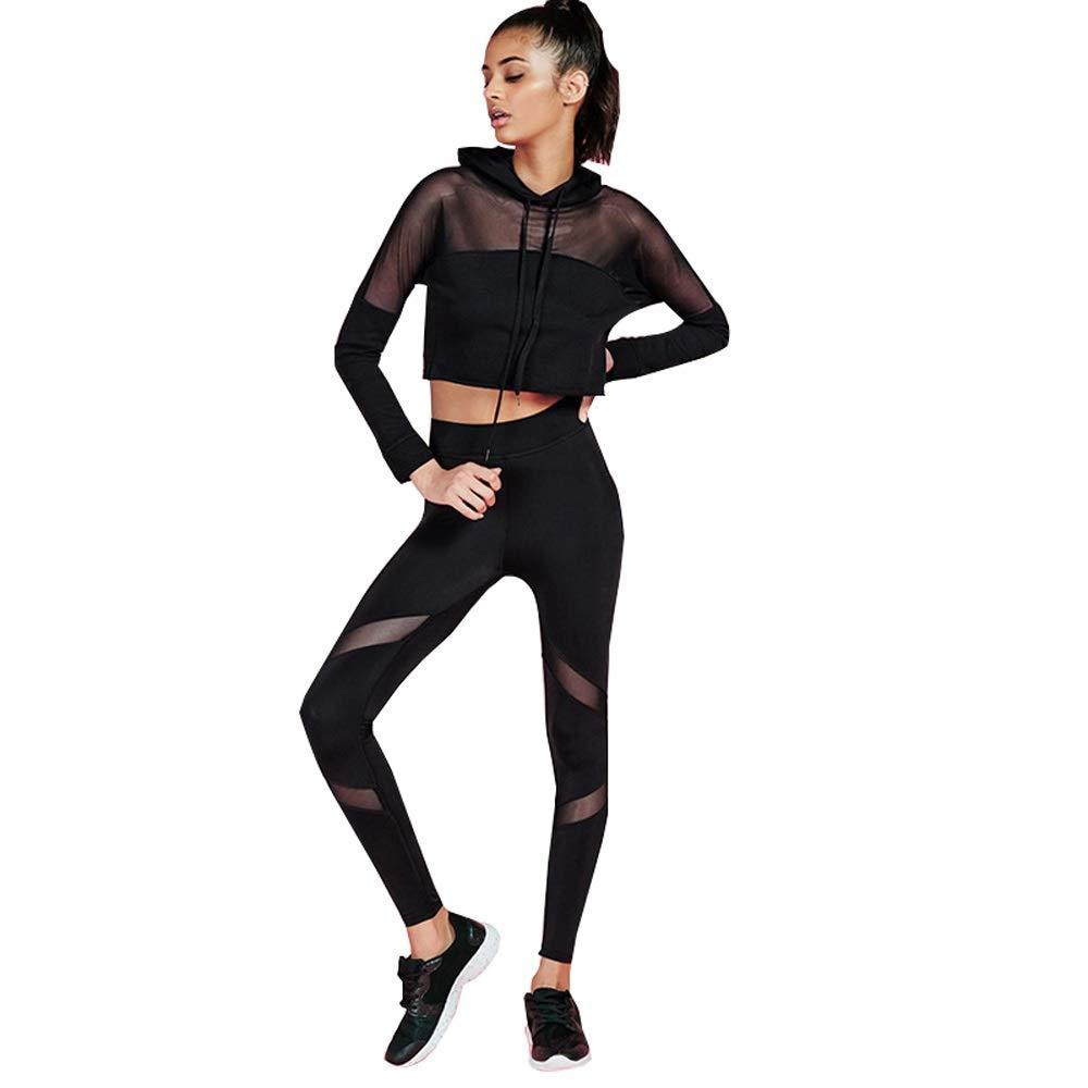 LiXiZhong Damen Yoga Set Mesh Sports Set Mit Kapuze Zwei Stücke Laufbekleidung (größe : S)