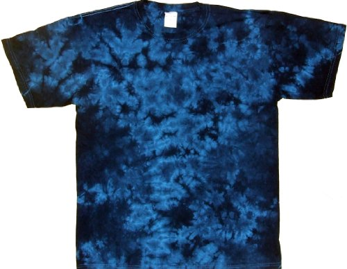 - Tie Dyed Shop Electric Blue Crinkle Tie Dye Shirt-Small-Multicolor