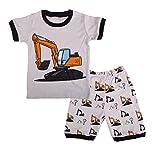 Dreamaxhp Excavator Little Boys' Pajamas Set 100% Cotton (4T, Multicolored)