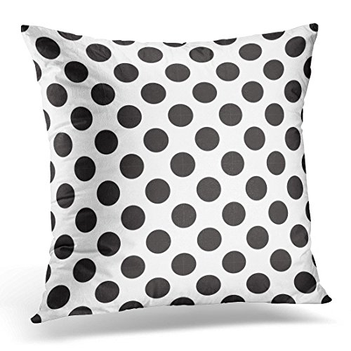 (SPXUBZ Gray Chaotic Abstract Polka Dot of Black White Circles Ordered Silver Circular Dotted Decorative Home Decor Square Indoor/Outdoor Pillowcase Size: 18x18 Inch(Two Sides))