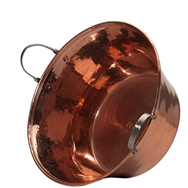 Sertodo Permian Basin, 15 inch diameter by 7 inches deep, Hammered Copper with Stainless Steel Handles