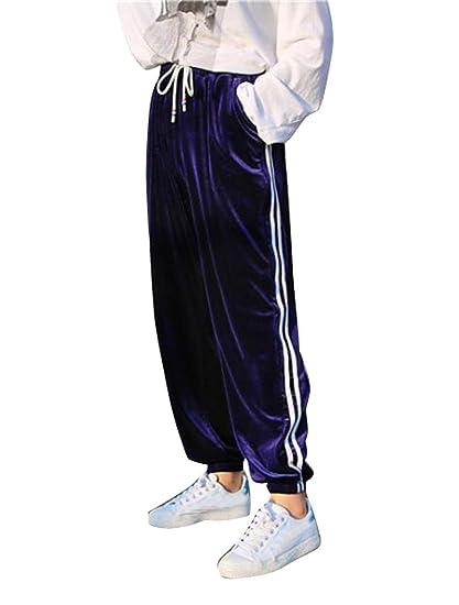 Pantaloni Velluto Donna a Righe Casual Larghi Tinta Unita con Coulisse Vita  Alta Baggy Hip Hop 2c24270c8ab3