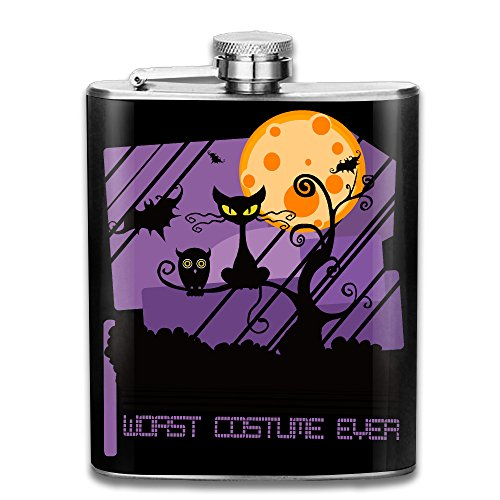 [ZHONGJIAN Worst Costume Ever Halloween Scared Black Cat Flask Portable Stainless Steel Flagon Wine Bottle 7oz 206ml] (Best Worst Costumes Ever)