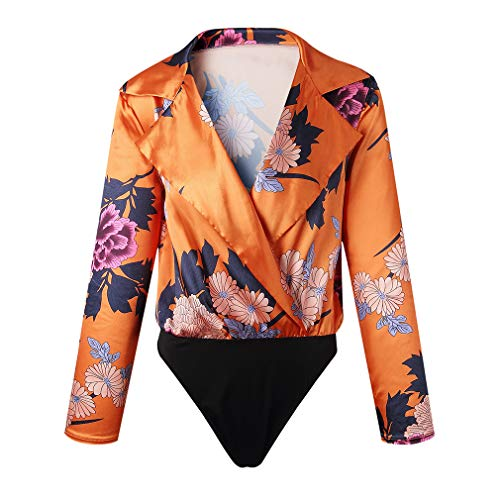 Femmes Haut Floral Casual Wrap Sexy Orange Mxssi Imprimer Taille Blouse Body V Romper Ensemble Col Manches Profond lastique Longues Body dWfnTUqnX