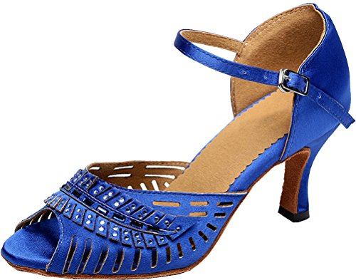 Abby Womens Ventilated Hollow Out Fashion Latin Peep Toe Satijn Professionele Dansschoenen Blauw