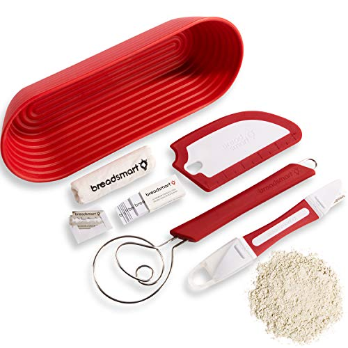 Breadsmart - Artisan Bread Baking Tool Set - 5-Piece Kit - Includes Lame with 10 Replacement Blades, Danish Dough Whisk, Proofing Banneton with Reusable Liner, Bench Scraper and Recipe Guide - Red