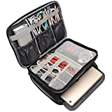 BUBM Travel Electronics Organizer, Double Layer Cable Organizer Bag(M, PU Black)