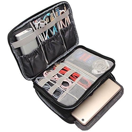 BUBM Travel Electronics Organizer, Double Layer Cable Organizer Bag(M, Black) by BUBM