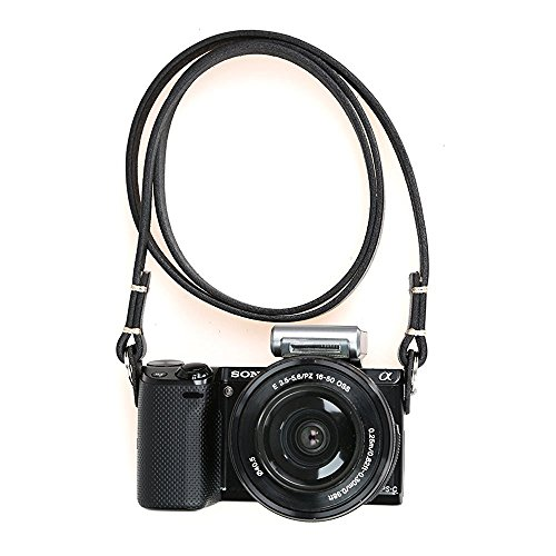 CANPIS Universal Genuine Leather Camera Shoulder Neck Strap for Leica Sony etc (Black) Leather Camera Neck Strap