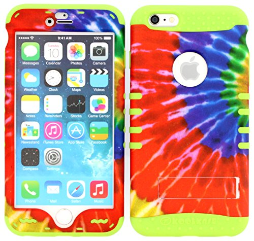 iPhone 6s Case, Wireless Fones TM Heavy Duty Hybrid Kickstand Cover Case Tie Dye Snap On Over Lime Green Skin for iPhone 6s
