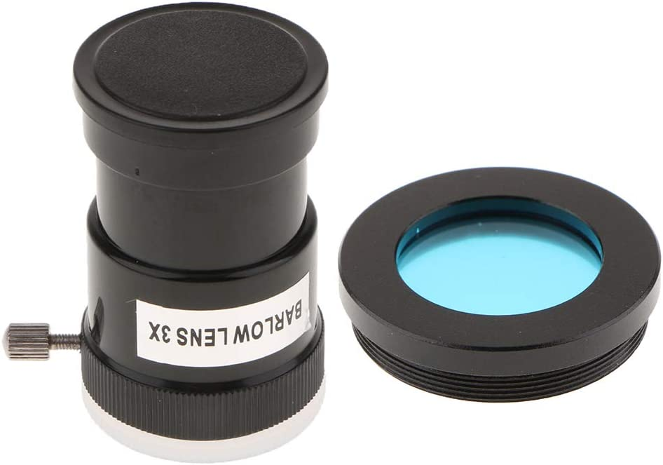 Moon Planet Deep Sky Detail Almencla 1.25 inch 3X Barlow Lens Eyepiece with Color Filter Blue for Astronomical Telescope