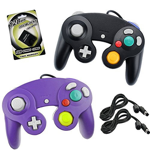 Koalud 2 Packs NGC Wired Gamepad Controllers with 2 Extension Cables 1.8m and 128mb Memory Card for Nintendo Wii GameCube Game Cube GC Console(Black and Purple)