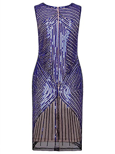 Women's Sequined Inspired Vijiv Prom Blue Gatsby 1920s Beaded Evening Dress Flapper Beige aqdCOwxEC