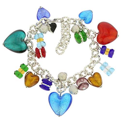 (GlassOfVenice Murano Glass Donatella Heart Charms Bracelet - Multicolor )
