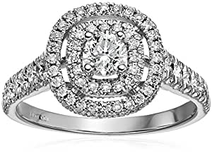 IGI Certified 14k White Gold Diamond Double Halo Engagement Ring (1 1/4 cttw, H-I Color, I1-I2 Clarity), Size 6