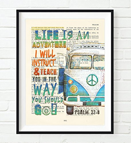 Life is an Adventure. I will instruct & teach you in the way you should go! - Psalm 32:8 Christian UNFRAMED art PRINT, Volkswagen Vw bus Vintage Bible verse scripture gift, 5x7 inches