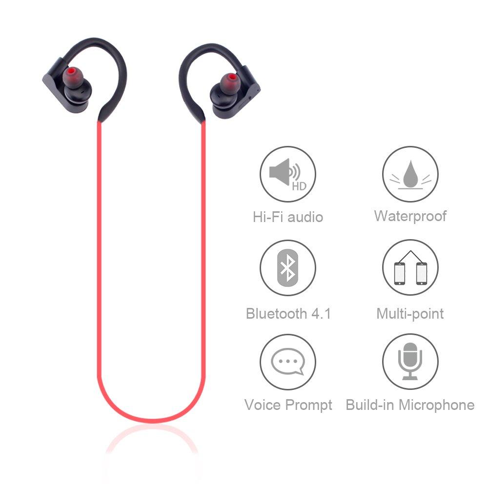 Bluetooth Headphones, Kesbin Wireless Earbuds with Microphone – Waterproof Hi-Fi Deep Bass HD Stereo Sweatproof in Earphones for Running Workout 8 Hour Battery Noise Cancelling Standard