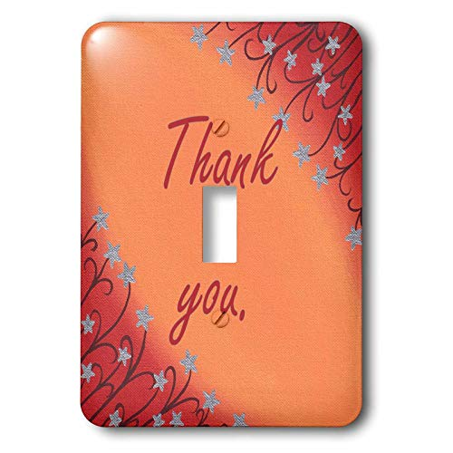3dRose CherylsArt Thank you - Painting of Silver Star Flowers on Blended Orange Red Thank you - 2 plug outlet cover (lsp_317738_6) ()