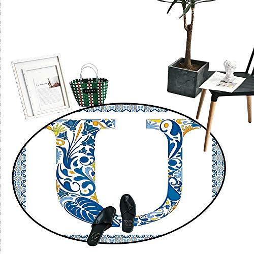 - Letter U Round Small Door Mat Azulejo Motifs Floral Typography Retro Mosaic Tile Design Graphic Initial Indoor/Outdoor Round Area Rug (2' Diameter) Blue Yellow Orange