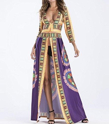 Coolred-femmes Dashiki V-cou Bohème Grand Pendule Afrique Coupe-haut Longue Robe Violette