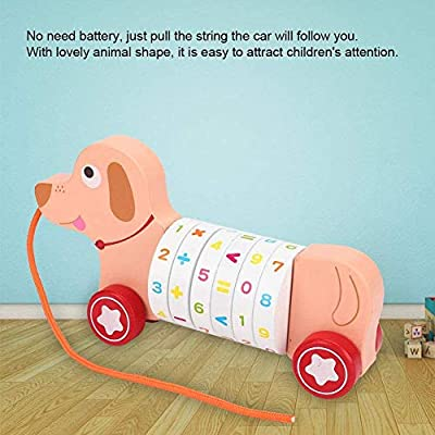Children's Trolley Wooden Pull Toy, Digital Operation Early Educational Toys, Cartoon Animal Wooden Pull Car Toy (Yellow) : Baby