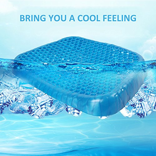 Gel Seat Cushion, ONEVER Summer Cool Comfortable Chair Cushion Gel Comfort, Prevents Sweaty Bottom, Durable, Portable (Blue) by ONEVER
