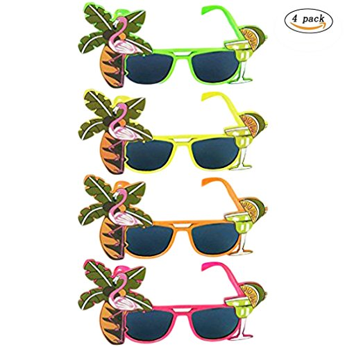 Fortuning's JDS Hawaiian Flamingo Coconut Tree Eye Glasses Luau Party Accessory (4Pcs)