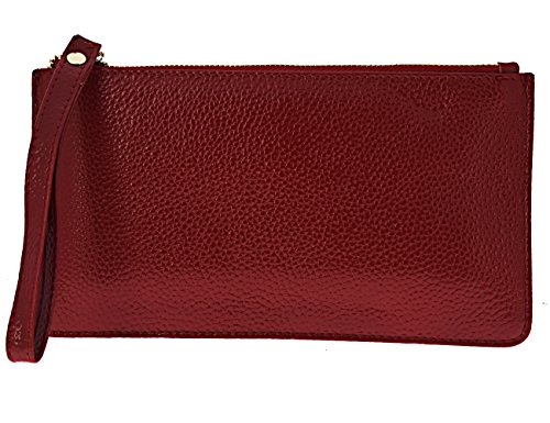 Card Slots for Purses Clutch Wine Phone with Black Red Wallets Leather Women FDTCYDS Z4fnUAZ