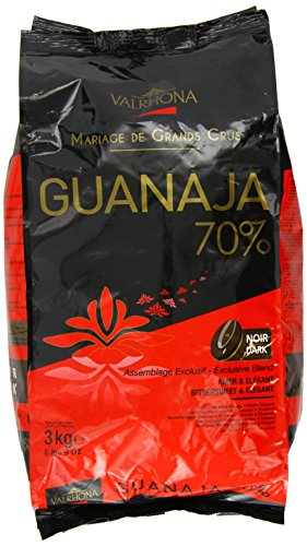 Valrhona Dark Chocolate - 70% Cacao - Guanaja - 6 lbs 9 oz bag of feves
