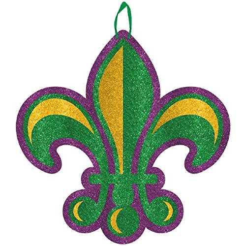 Glitter Fleur de Lis Mardi Gras Sign -