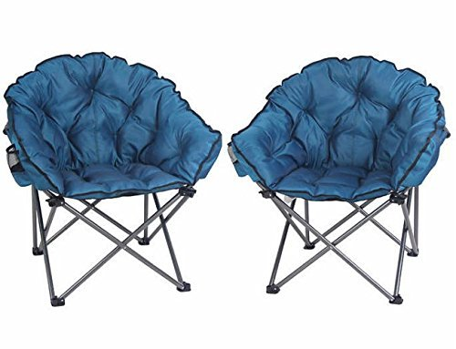 Price comparison product image Padded Club Folding Camping Chair 2-pack with Drink Holder with Carrying Bag Ideal Even For Outdoor Seating