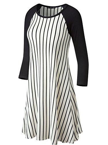 Fashion California FACA Womens Baseball 3/4 Raglan Sleeve Jersey Tunic Dress (Medium, Thin Off White/Black Stripe) -