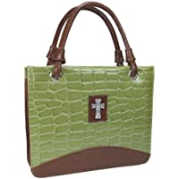 Purse with Silver Cross Crock Embossed Medium Green Bible Cover