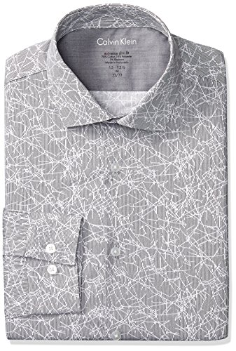 Calvin Klein Men's Dress Shirts Xtreme Slim Fit Non Iron Herringbone, Smoke 14.5