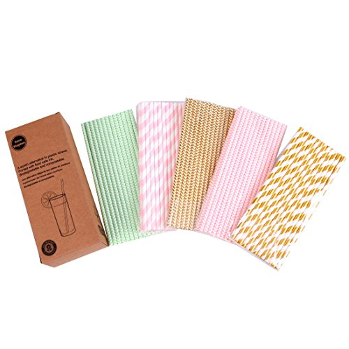 125 PCS Paper Straws Pink Gold Mint Green Stripe Wave Assorted Collection Drink Decoration - Boxed 5 Individual Pack
