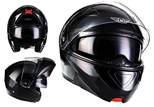 MOTO F19 Gloss Black · Sturz-Helm Scooter-Helm Modular-Helm Helmet Klapp-Helm Integral-Helm Roller-Helm Cruiser Motorrad-Helm Flip-Up-Helm ,ECE zertifiziert ,inkl. Sonnenvisier ,inkl. Stofftragetasche ,Schwarz · M (57-58cm)