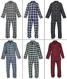 RK Classical Sleepwear Men\'s 100% Cotton Flannel Pajama Set, Size Medium Green