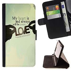 - My heart is and always will be yours Love/ Personalizada del estilo del dise???¡Ào de la PU Caso de encargo del cuero del tir????n del soporte d - Cao - For Samsung Galaxy A3