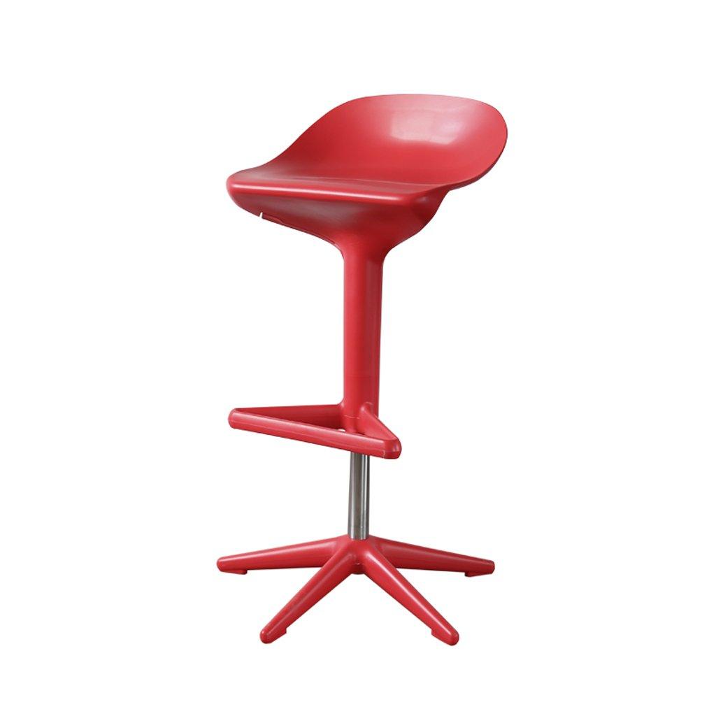 バースツール、リフトハイスツール、プラスチックシンプルキッチン朝食用スツール、(56-76cm * W55cm)、1 PC ( Color : Red ) B07CJW3Q8LRed