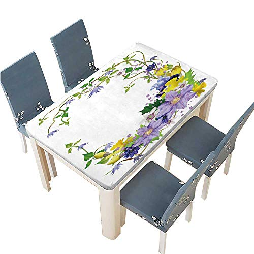 PINAFORE Indoor/Outdoor Polyester Tablecloth Spring Flowers a Beautiful Bouquet for Design Anemones primroses Freesia Lilies Wedding Restaurant Party Decoration W25.5 x L65 INCH (Elastic Edge) (Bouquet Wedding Freesia)