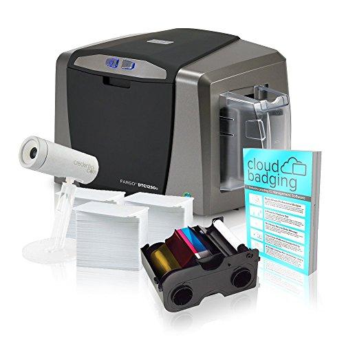 Fargo DTC1250e Single-Side ID Card Printer + Supplies with C