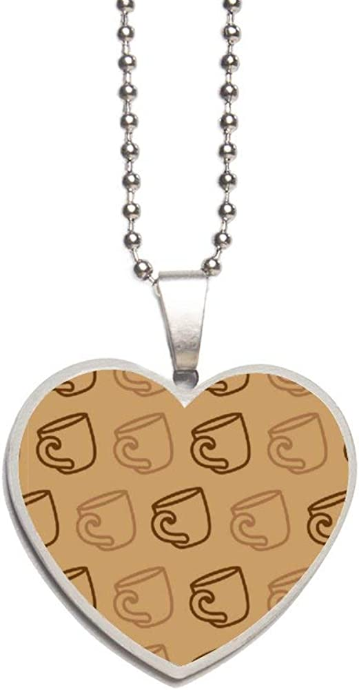 Coffee Mug On A Brown Necklace Personalized Engraved Heart Custom Gift Pendant-Valentines Day Love