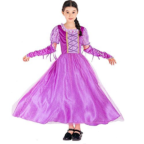 ENbeautter Girls Halloween Princess Rapunzel Costume Luxury Purple Sleeping Beauty Dress (L)