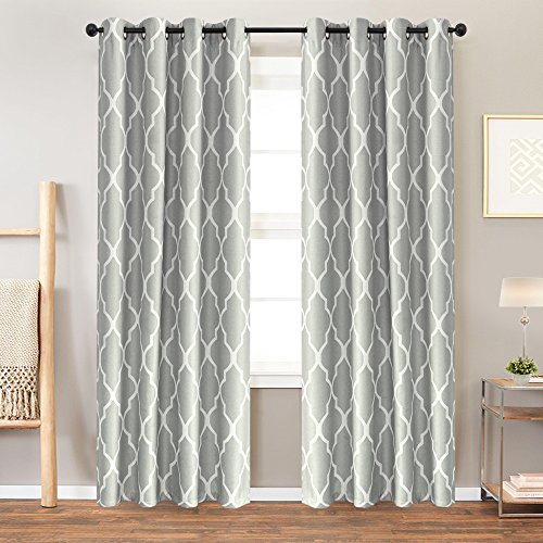 Moroccan Bedroom Set - Grey Curtains 95 inch 2 Panel for Bedroom Home Kitchen Grommet Linen Texture Thermal Insulated Room Darkening Drapes Moroccan Tile Print Curtain Set Gray on Flax