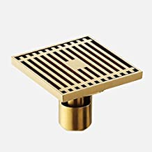 Square Floor Drain Shower Waste Water Strainer Floor Drain Cover Stainless Steel Shower Floor Grate Drain (gold, long)