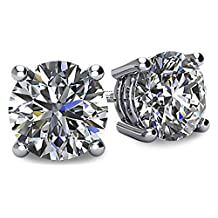 NANA 14k Gold Post & Sterling Silver 4 Prong Swarovski Pure Brilliance CZ Stud Earrings CZ 1.0ctw to 8.0ctw